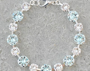Icy Light Aquamarine Bridesmaids Bracelet Swarovski Crystal Light Azore Clear Crystal Diamond Rhinestone Bracelet Pastel Beach Wedding