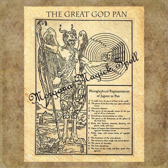 The GREAT GOD PAN, Pan Myth, Instant Download, Greek God, Faun Satyr, Mythological, Clip Art, Digital Download, Occult Book of Shadows Page