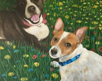 20x20 large pet portrait custom wall art painting from photo two pets hand painted on canvas