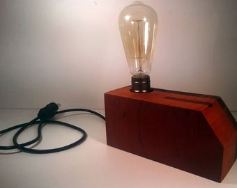 Vintage Edison light bulb wardwood Lamp