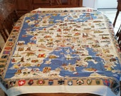 Souvenir Tablecloth Europe Map and Crests Crisp Graphics FREE SHIPPING!