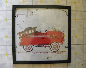 Red Fire Engine 19 x 19 Framed Print- Wall Decor for a Child's Room