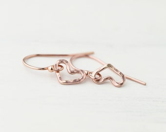Tiny Rose Gold Heart Earrings For Girlfriend or Wife, Valentine's Day Gift for Her, Gift for Women, 14K Rose Gold Filled Jewelry
