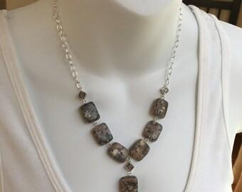 Gemstone rectangle necklace