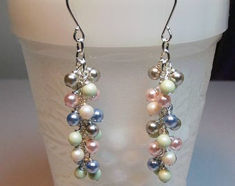 Swarovski Long Pink Blue Gray Green Ivory Pearl Cluster Icicle Earrings Christmas Mom Sister Bridesmaid Birthday Girlfriend Mothers Day Gift