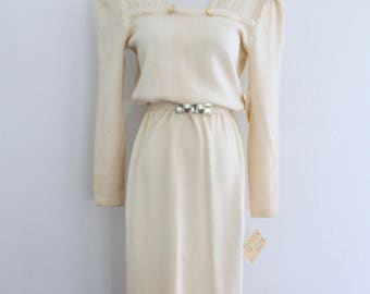 1980s St John Evening Santana Knit Dress Neiman Marcus Cream Rhinestone Womens Vintage Medium Deadstock