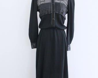 1980s St John Marie Gray Black Santana Knit Dress Chiffon Repair Piece Womens Vintage Medium