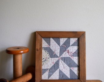 Antique Framed Quilt Square - Victorian, Folk Art, French Farmhouse, Shabby Chic, Boho