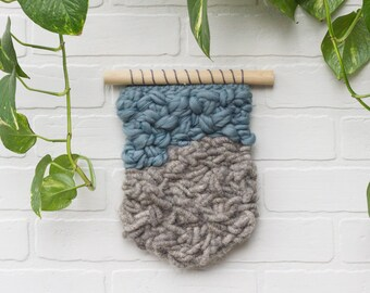 Woven Wall Hanging   Modern Abstract Tapestry   Blue and Grey Wave with Alpaca Rug Yarn and Wool
