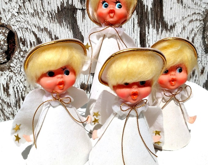 Vintage 1960's Angel Christmas Decorations - Set of 4