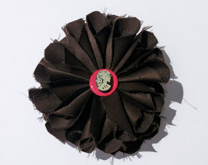 Recycled Vintage Satin Fabric Flower Clip Pin in Chocolate Brown with Pink Center and Skull Cameo