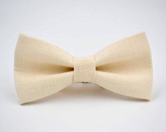 Bowtie in Ivory Linen, Mens Off-White Bow Tie, Cream Bow Tie