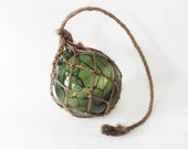 Vintage Fishing Net Buoy Vase Hand Blown Green Glass in Macrame