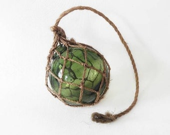 Vintage Hand Blown Green Glass Fishing Net Buoy in Macrame Vase