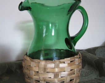 Vintage Hand-Blown Emerald Green Glass Demijohn Pitcher