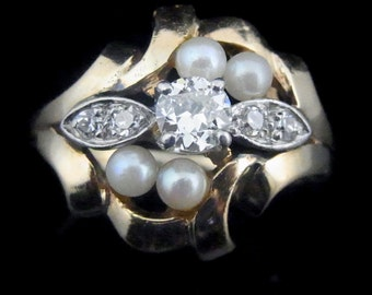 Victorian Old European Cut Diamond Pearls 14k Yellow Gold Ring Estate Antique
