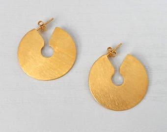 Gold Plated Earrings, Geometric Earrings, Brass Earrings, Modern Earrings, Disk Earrings, Disc Earrings, Hoop Earrings