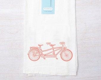 Tea Towel - Screen Printed Bike Flour Sack Towel - Bicycle - Kitchen Towel - Handmade - Tandem - Cycling - Biking Is For Lovers