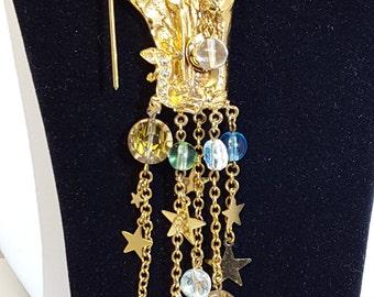 Kirks Folly Original/Vintage Great Sorcerer Merlin Large Crystal Dangle Brooch Pin Scepter Gold Plate Tone