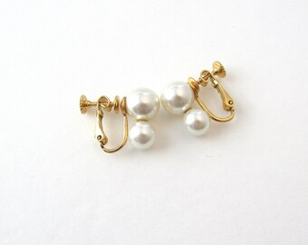 Vintage Napier Imitation Pearl Earrings - Gold Plated - Lever / Screw Back