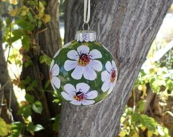 ladybug ornament, Christmas ornament, hand painted ornament lb265