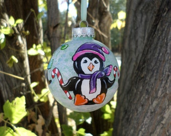Hand Painted Ornament, Penguin Ornament, Christmas tree ornament 283
