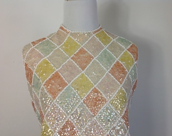 Pastel Diamonds Shimmering Beaded Sequin Sweater - Vintage 60s Cyn Les Sweater - Size Medium