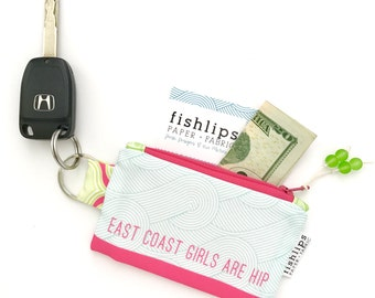 East Coast Girls Are Hip Recycled Key-chain Coin Purse, Mini Zipper Pouch, Cute Credit Card Case, Music Beach Lover Handmade Gift, Waves Bag
