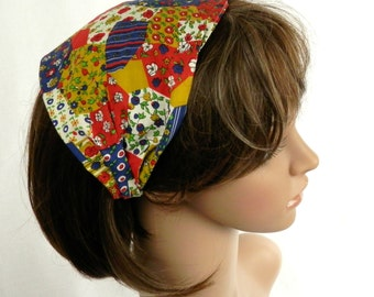 Cotton Calico Headband Vintage 1970's Fabric Red, Navy Blue, Gold and Green Calico Flower Patchwork Print Boho Hippie Headband