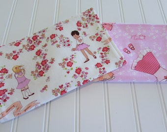 Burp Cloths/Set of Two/Children at Play/Cotton Front/Organic Cotton Double Flannel Backing