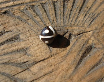 Moroccan brown and white small ceramic round hand painted  bead