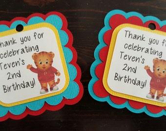 Daniel the Tiger. Daniel the Tiger Party decorations. Daniel Tiger Birthday. First Birthday. Favor tags. Gift tags. Daniel Tiger favor tags