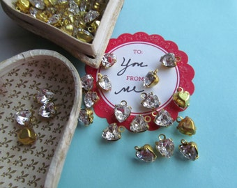 12 Vintage Crystal Swarovski Hearts In Brass Closed Back Setting With Hoop