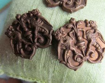 6 Antique Brass Gargole/Winged Dragon Royal Crest Stamping