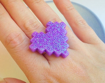 Pixel Heart Ring - Purple, Gamer, Video Game, 1 Up, Hearts, Kawaii, Sparkle, Statement
