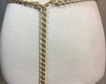 Gold Metal Chain Link Belt, Textured Gold Links, Hippie 1960's Belt, 37 Inches Long .5 Inches Wide