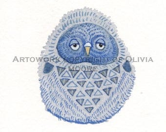 "Owl Art - Original Watercolor Painting - Owl Nursery Art - Woodland Wall Art - 3""×4"""