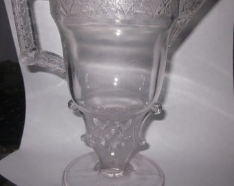 Antique 1870s EAPG Heart Stem Victorian cream Pitcher serving,charming glass,tabletop,tableware,Shabby Chic