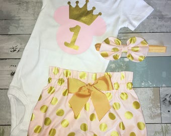 Pink and Gold Minnie Mouse Onesie, 1st Birthday Onesie, One Minnie,Knot Bow Headband, Complete Baby or Toddler Set, Pink and Gold Polka Dots