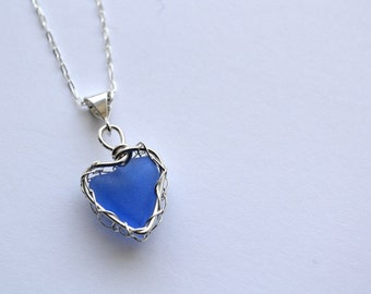 Cornflower Blue Violet Genuine Sea Glass Hand Knitted Fine Silver Wire  Heart Pendant with 18 inch chain Necklace from Greece