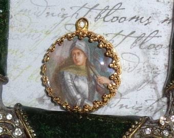 Saint Joan of Arc vintage art print image charm cabochon diy jewelry making