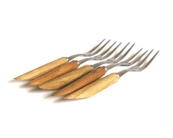 Wood Handle Cocktail Forks, Stainless Japan, Party Fork Set Hors D'Oeuvres Picks Angled Mid Century Barware