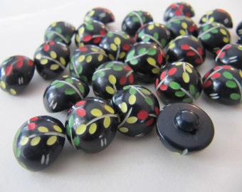 1930's domed 17mm buttons, 30 pcs Art Deco colorful black casein plastic buttons 5/8 inch, vintage galalith self shank high quality buttons