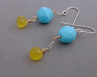 Gold and Turquoise Earrings - Yellow Chalcedony Earrings with Vintage Glass, Sterling Silver and Gold Fill