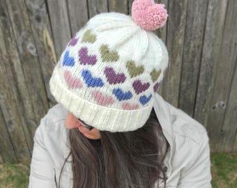 Knitting Pattern ~ Hearts Around Beanie ~ Knitting Pattern