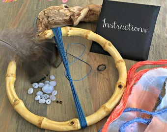 Blue Dream Catcher kit , blue lace agate stones , natural bamboo