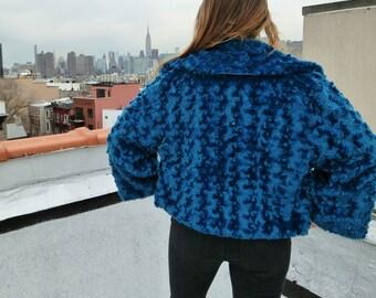Vintage Boho Blue Soft Shag Coat Retro Jacket