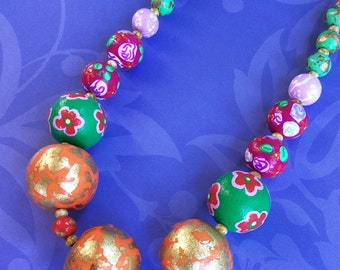 Colorful Mixed Print Necklace / Bold Chunky Bead Necklace / Multicolor Statement Necklace / Orange Green and Pink Necklace
