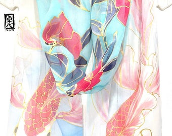 Koi Scarf, Hand painted Silk Scarf, ETSY, Red Koi Scarf, Japanese Koi Fish Art, Red Camelia Blossoms, Blue Silk Chiffon Scarf, 11x90 inch