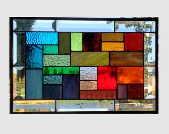Rainbow stained glass panel window hanging geometric stained glass window panel modern colorful abstract suncatcher 0173